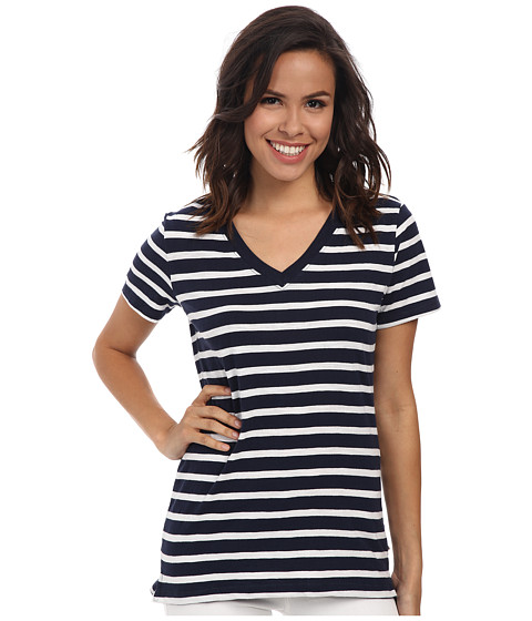 Hatley - V-Neck Tee (Navy/White Stripes) Women