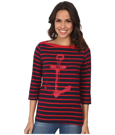 Hatley - Bretton Tee (Navy/Red Stripes Anchor) Women's T Shirt