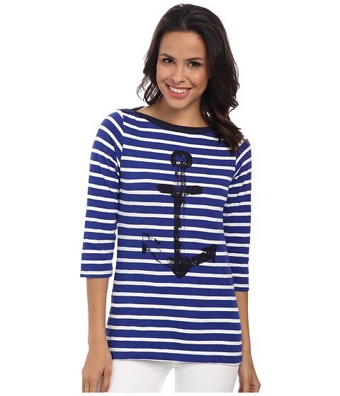 Hatley - Bretton Tee (Royal/White Stripes Anchor) Women's T Shirt