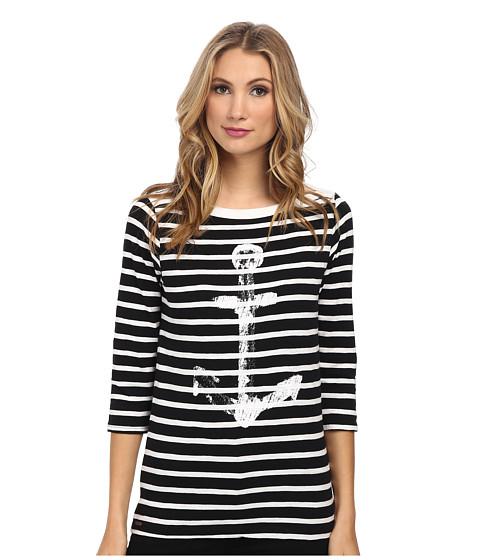 Hatley - Bretton Tee (Black/White Stripes Anchor) Women's T Shirt