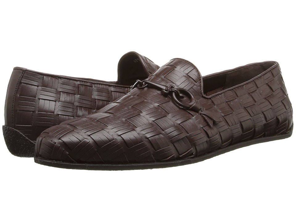 Cesare Paciotti - Basket Weave Loafer (Dark Brown Calf) Men's Slip on Shoes