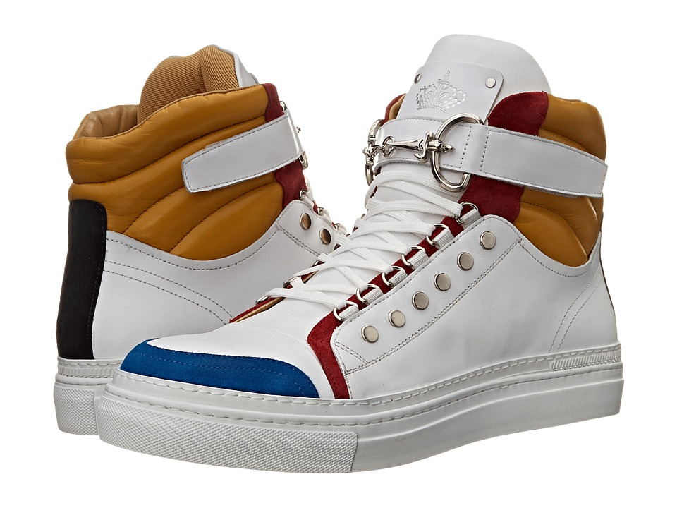 Cesare Paciotti - Color Block High Top Sneaker (Denim/White Calf) Men's Shoes