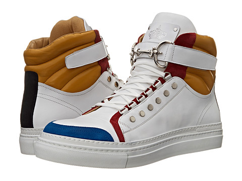 Cesare Paciotti - Color Block High Top Sneaker (Denim/White Calf) Men