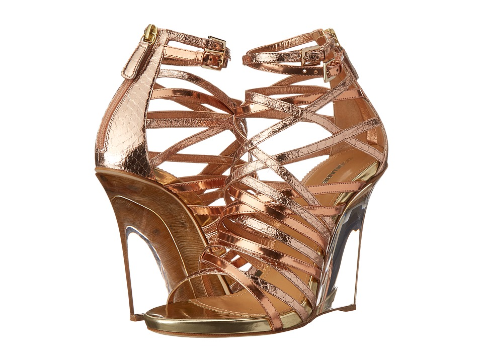 DSQUARED2 - Metallic Strappy Wedge Sandal (Oro/Rosa/Oro) Women's Wedge Shoes