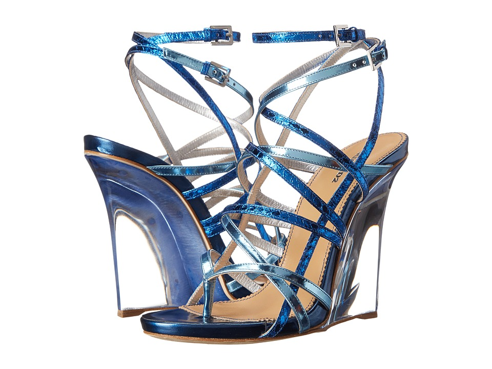 DSQUARED2 - Metallic Wedge Sandal (Metallic Blue) Women's Wedge Shoes