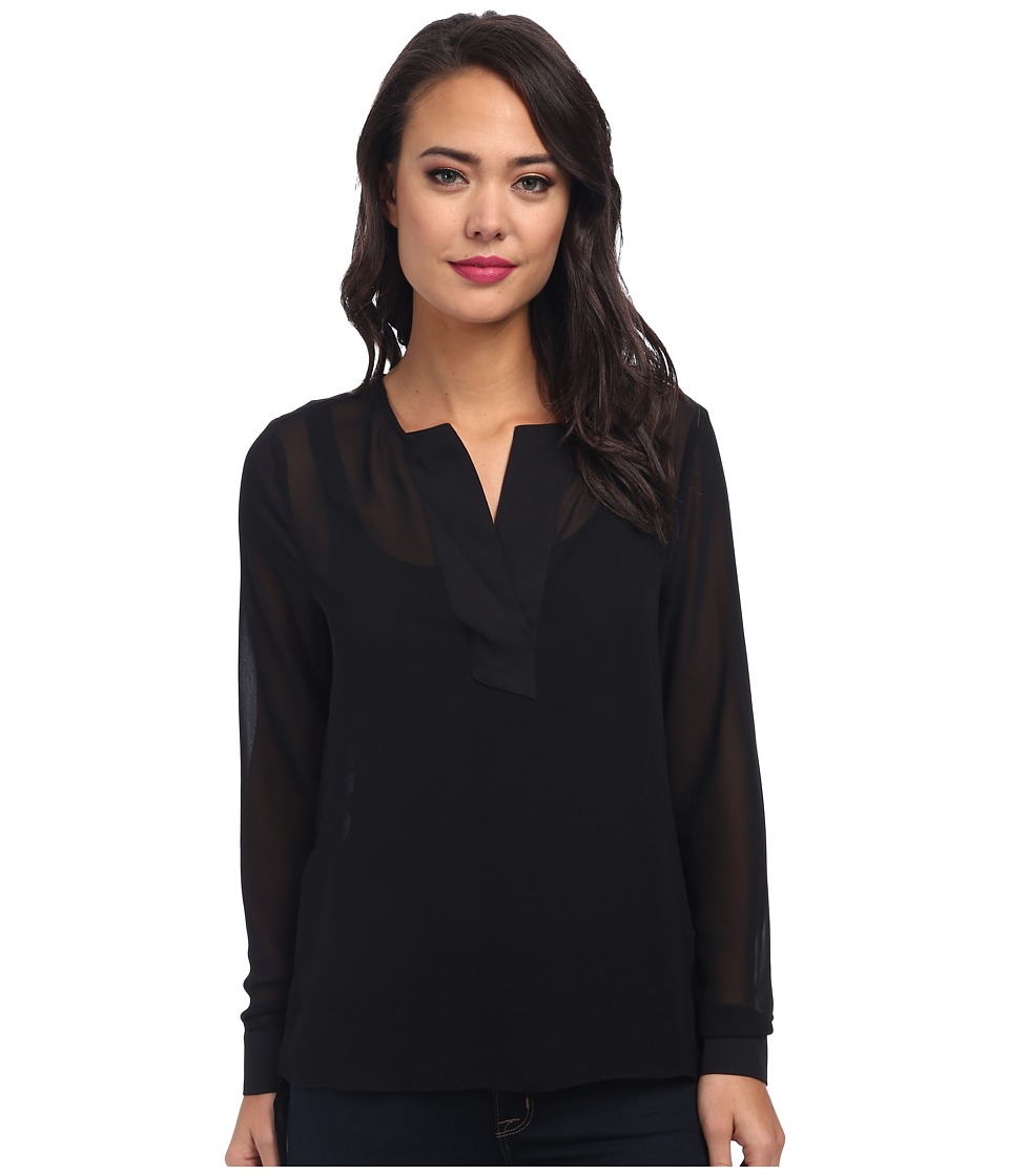 BCBGeneration - Woven Sportswear Top (Black) Women's Long Sleeve Pullover