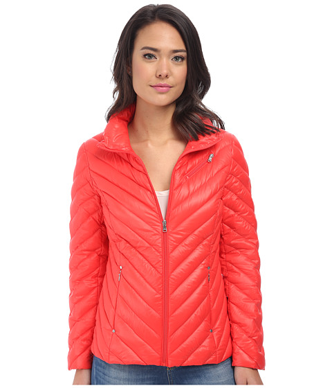 LAUREN by Ralph Lauren - Chevron Soft Down (Coral) Women's Coat