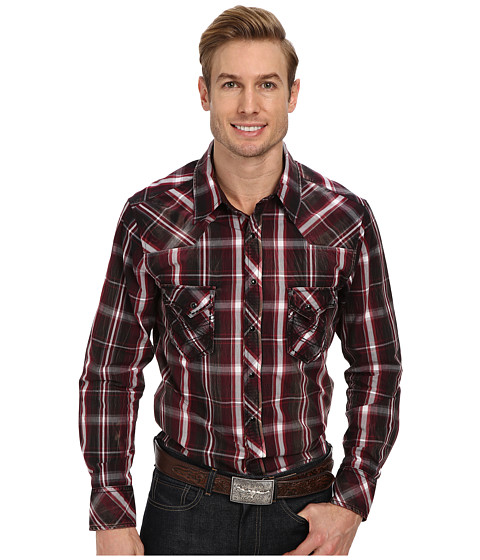 Rock and Roll Cowboy - L/S Snap B2S1373 (Maroon) Men's Long Sleeve Button Up