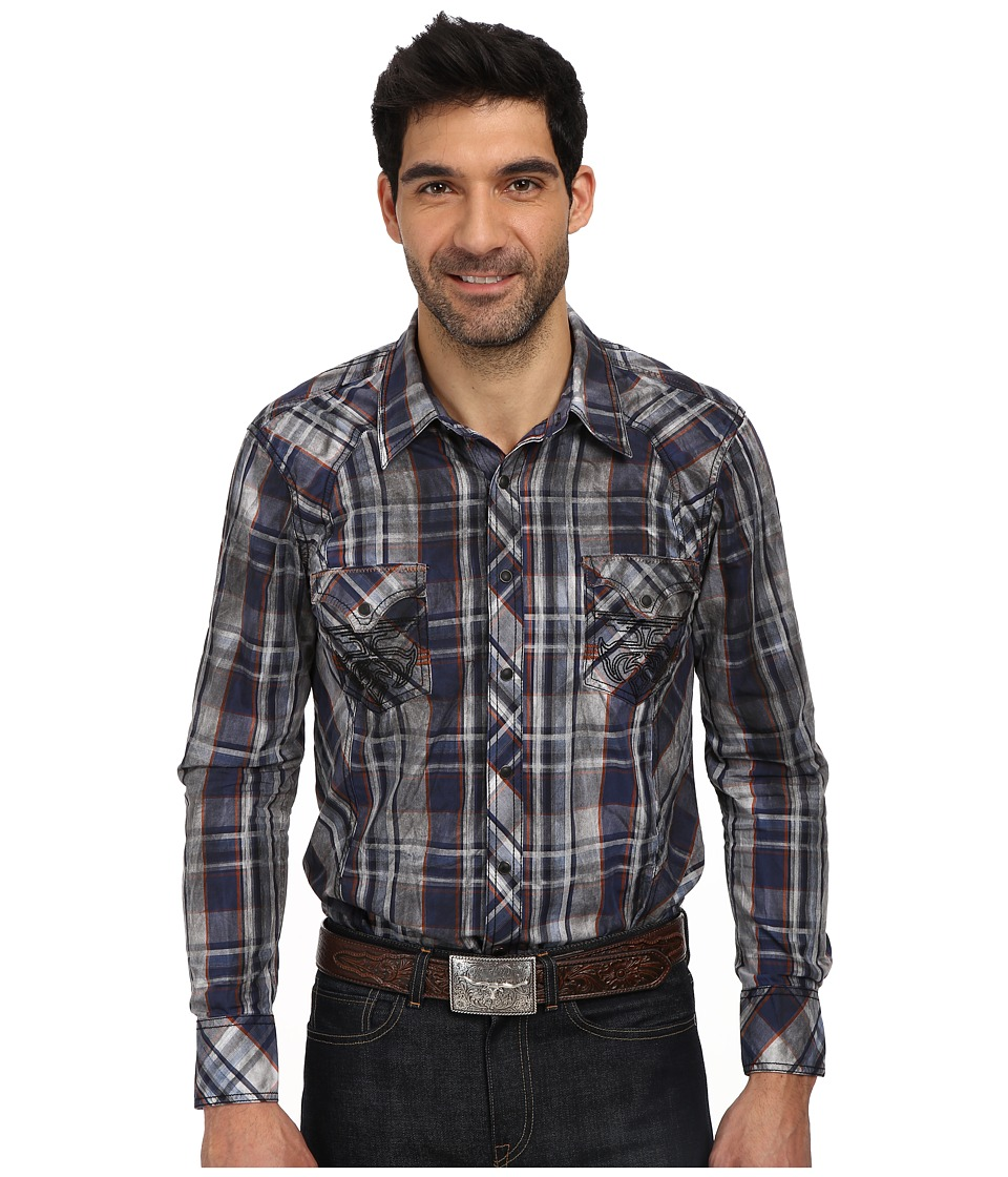 Rock and Roll Cowboy - L/S Woven Shirt (Blue) Men's Long Sleeve Button Up