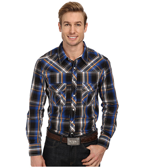 Rock and Roll Cowboy - L/S Snap B2S1372 (Blue) Men's Long Sleeve Button Up