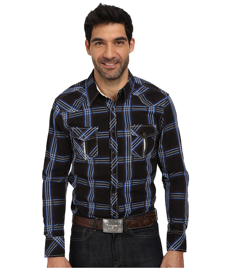 Rock and Roll Cowboy - L/S Snap B2S1356 (Brown/Royal) Men's Long Sleeve Button Up