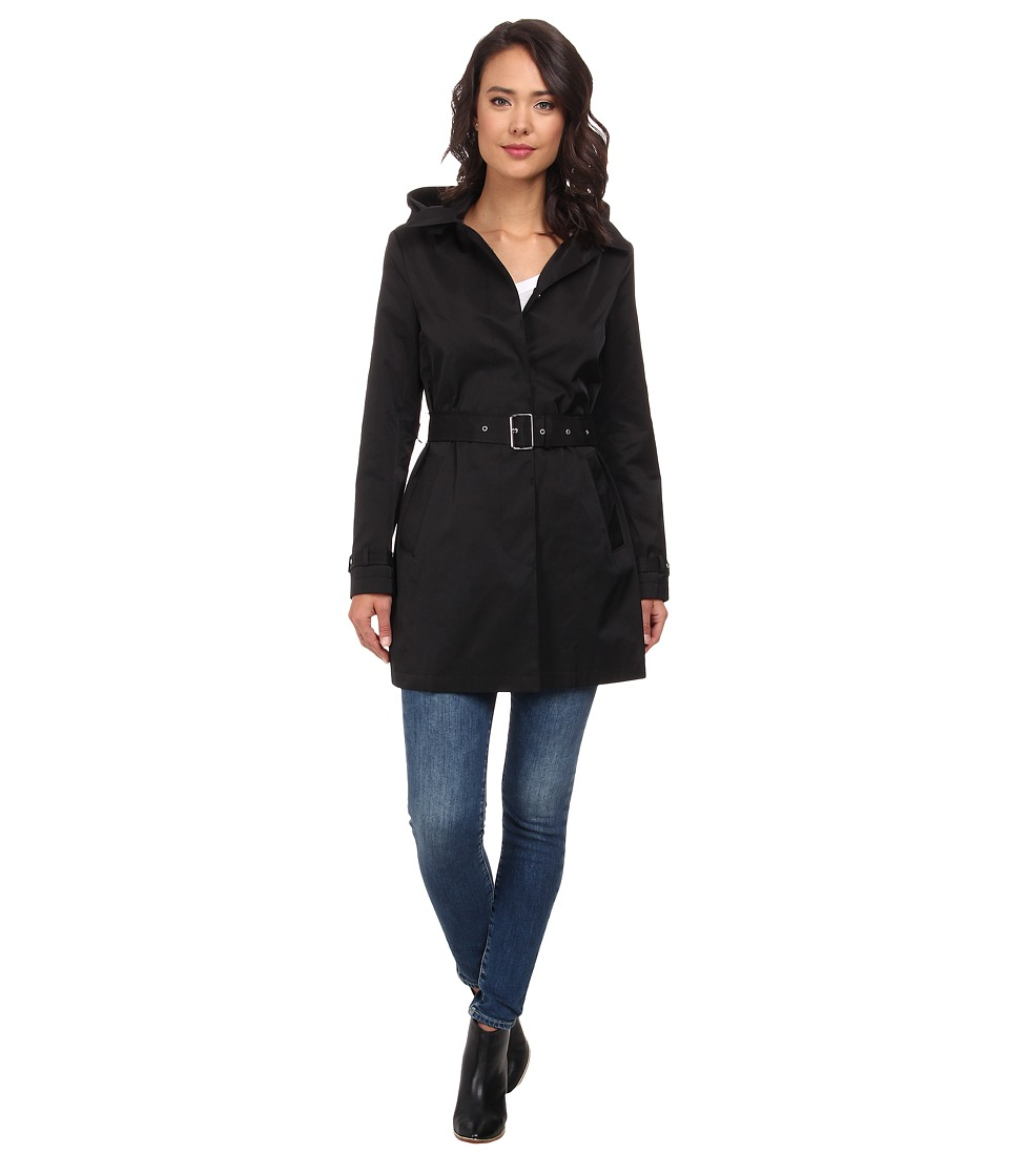 LAUREN by Ralph Lauren - Duster with Hood (Black) Women's Coat