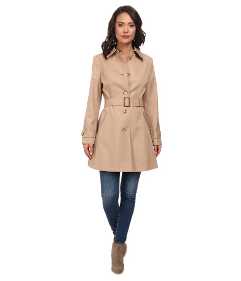 LAUREN by Ralph Lauren - Single Breast Skirted Trench (Racing Khaki) Women's Coat