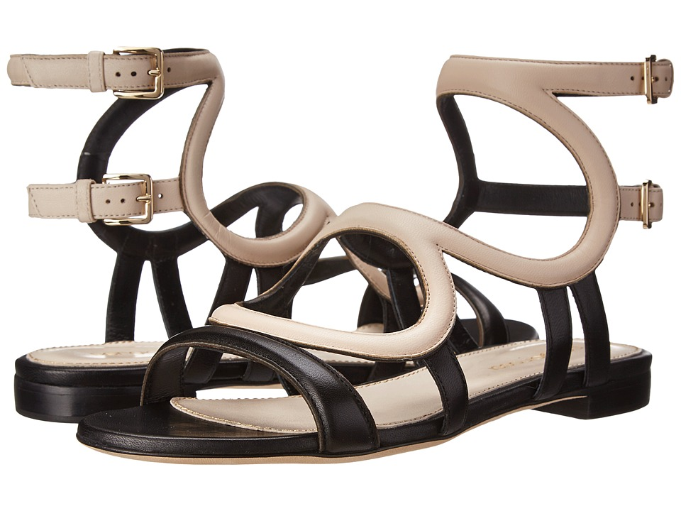 Sergio Rossi - Arabesque Flat Sandal (Black/White) Women's Sandals