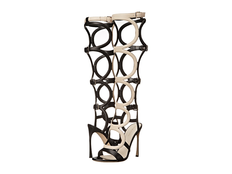 Sergio Rossi - Arabesque Heeled Sandal (Black/White) Women's Sandals