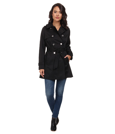 LAUREN by Ralph Lauren - Double Breast Trench w/ Silver Hardware (Black) Women