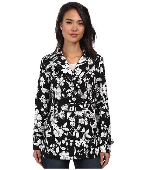 LAUREN by Ralph Lauren - Floral Trench (Black/White) Women's Coat