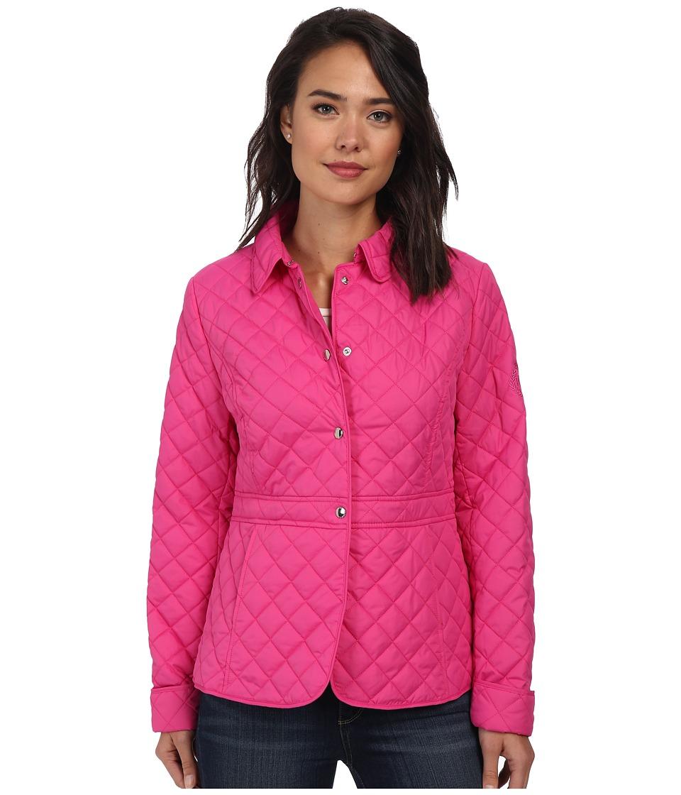 LAUREN by Ralph Lauren - Waist Detail Quilt (Hot Pink) Women's Coat