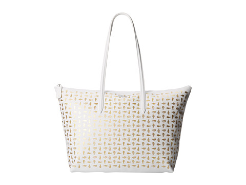 Lacoste - L.12.12 Metallic Concept Croc Horizontal Tote Bag (White Gold) Tote Handbags