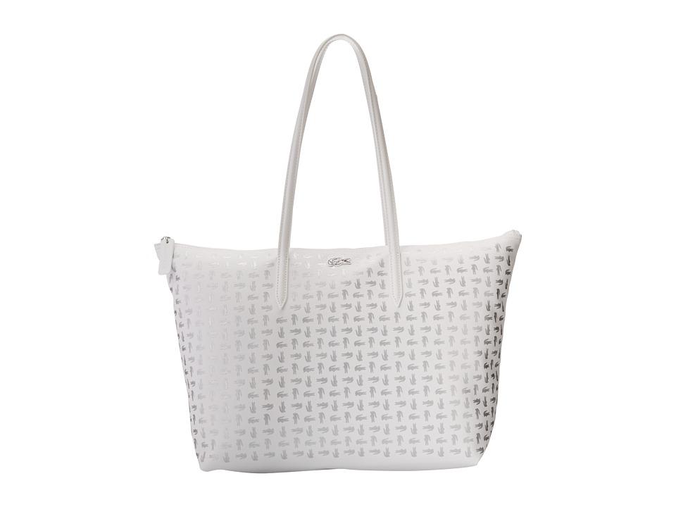 Lacoste - L.12.12 Metallic Concept Croc Horizontal Tote Bag (White Silver) Tote Handbags