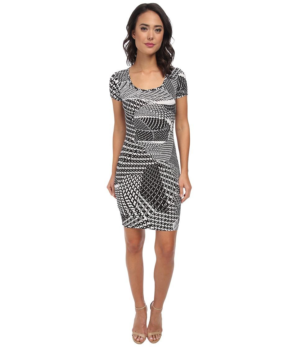 Calvin Klein - Short Sleeve Printed Jersey Dress CD5AX7A3 (Black/White) Women's Dress