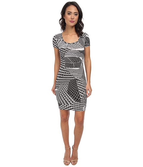 Calvin Klein - Short Sleeve Printed Jersey Dress CD5AX7A3 (Black/White) Women's Dress
