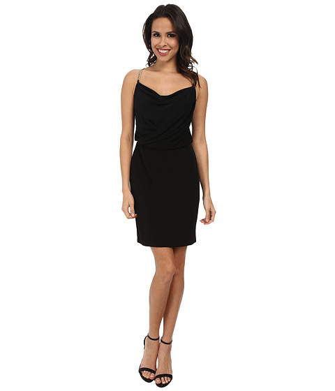 Calvin Klein - Jersey Dress with Chain At Shoulder CD5B1813 (Black) Women's Dress