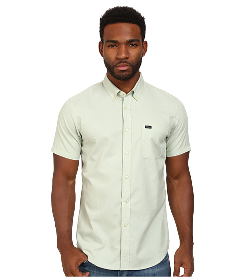 RVCA - That'll Do Oxford S/S (Smoke Green) Men's Short Sleeve Button Up