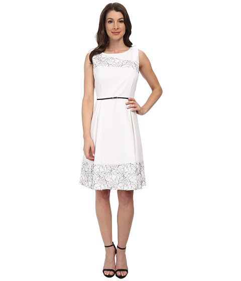 Calvin Klein - Flired Skirt Sheath CD5X1B7Q (White/Black) Women's Dress