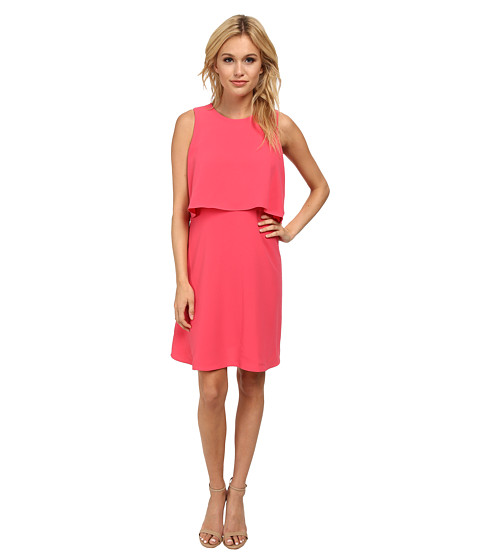 Calvin Klein - Crepe Pop Over Dress CD5E1A4D (Coral) Women's Dress