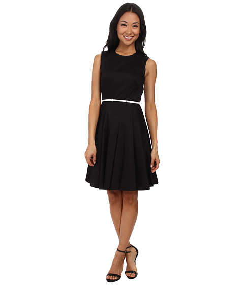 Calvin Klein - Cotton Dress Belted At Waits CD5G1B5T (Black) Women's Dress