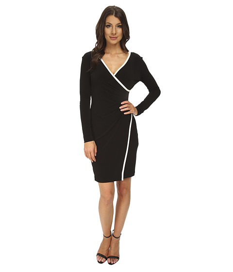 Calvin Klein - Color Block Asym Matte Jersy Dress CD4A9114 (Black/Cream) Women's Dress