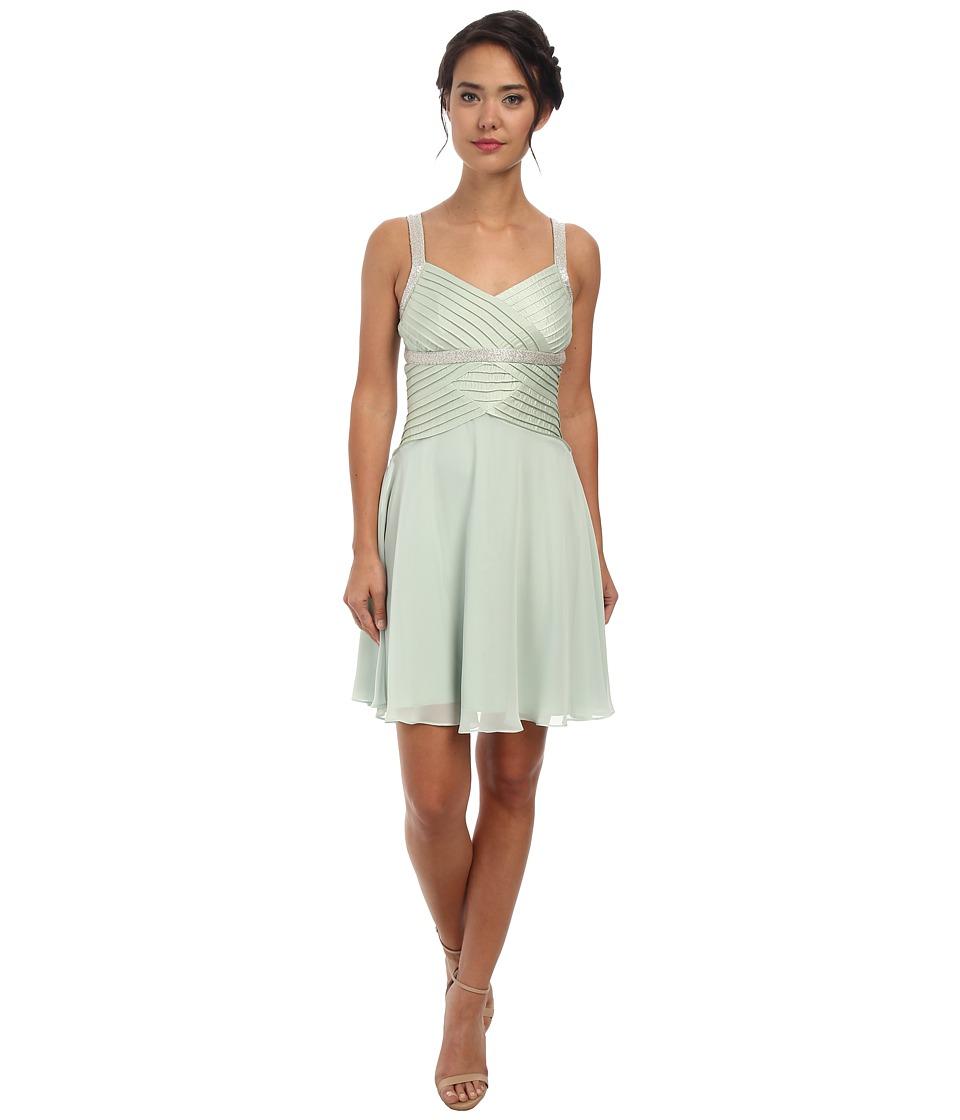 Calvin Klein Draped Chiffon Dress with Beaded Strap CD5B1861 (Mint) Women