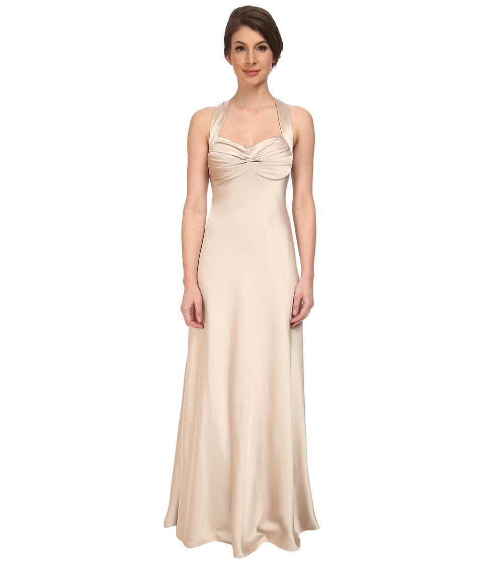 Calvin Klein Crossback Satin Gown CD5B1852 (Chanpaign) Women