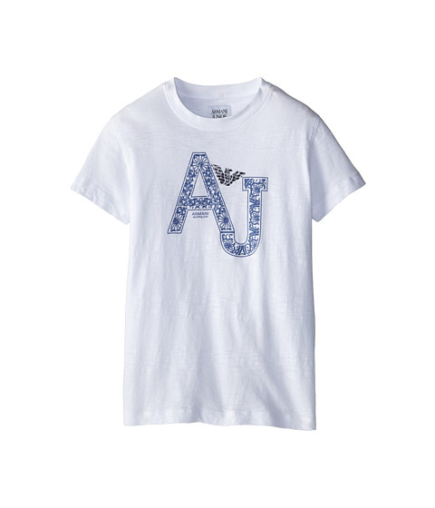 Armani Junior - S/S Paisley AJ Logo Tee (Big Kids) (White) Boy