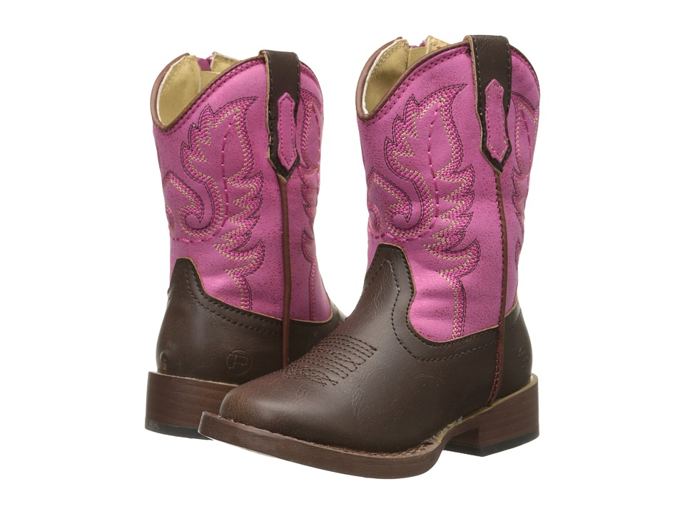 Roper Kids - Texson Faux Leather (Toddler) (Pink) Cowboy Boots