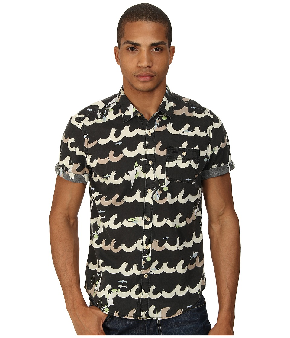 Scotch & Soda - Miami Print S/S Shirt (Black) Men's Short Sleeve Button Up