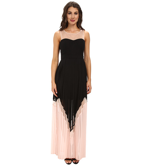 Jessica Simpson - Maxi Dress w/ Mesh Yoke (Black/Rose) Women's Dress
