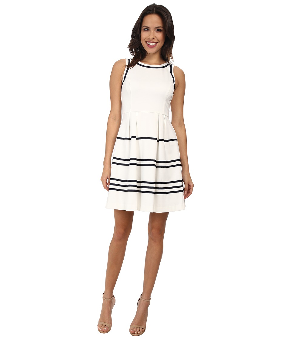 Jessica Simpson - Fit and Flare Stripe Dress (White) Women's Dress
