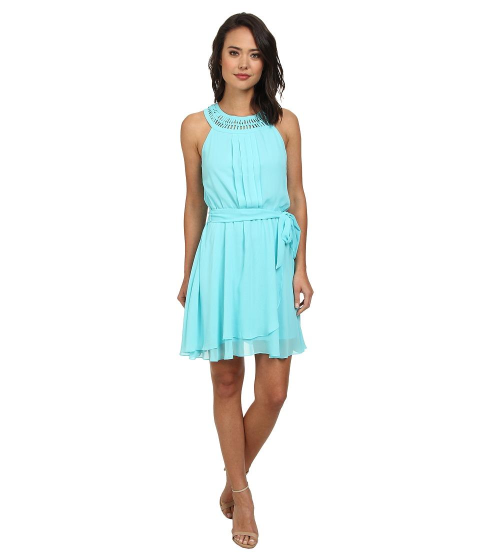 Jessica Simpson Braided Neck Chiffon Dress JS5U7058 (Blue) Women