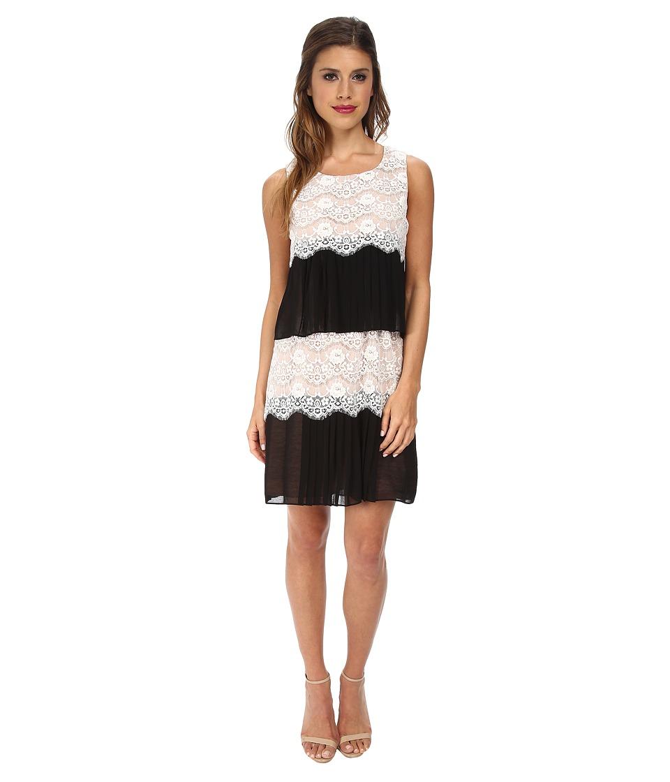 Jessica Simpson Tiered Lace Shift Dress (Black/Ivory) Women