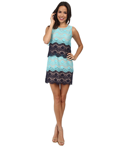 Jessica Simpson - Scallop Lace Tier Dress (Navy) Women's Dress