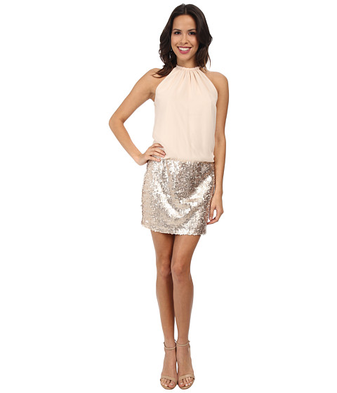 Jessica Simpson - Blousen Dress w/ Sequin Skirt (Champagne) Women's Skirt