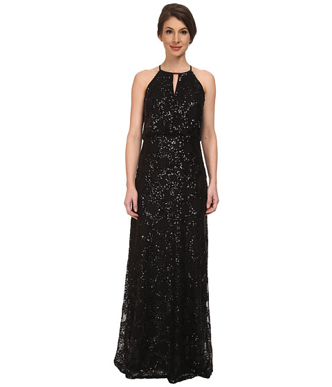 Jessica Simpson - Beaded Blousen Dress w/ Keyhole Detail (Black) Women's Dress