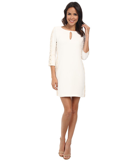 Jessica Simpson - Long Sleeve Stretch Crepe Dress (White) Women's Long Sleeve Pullover