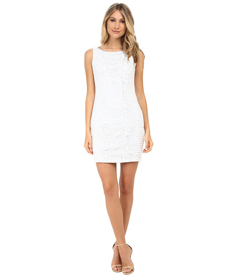 Jessica Simpson - Lace Detail Dress (White) Women's Dress