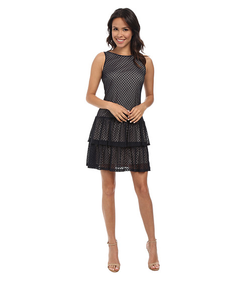 Jessica Simpson - Crochet Lace Tier Dress w/ Bow (Navy) Women's Dress