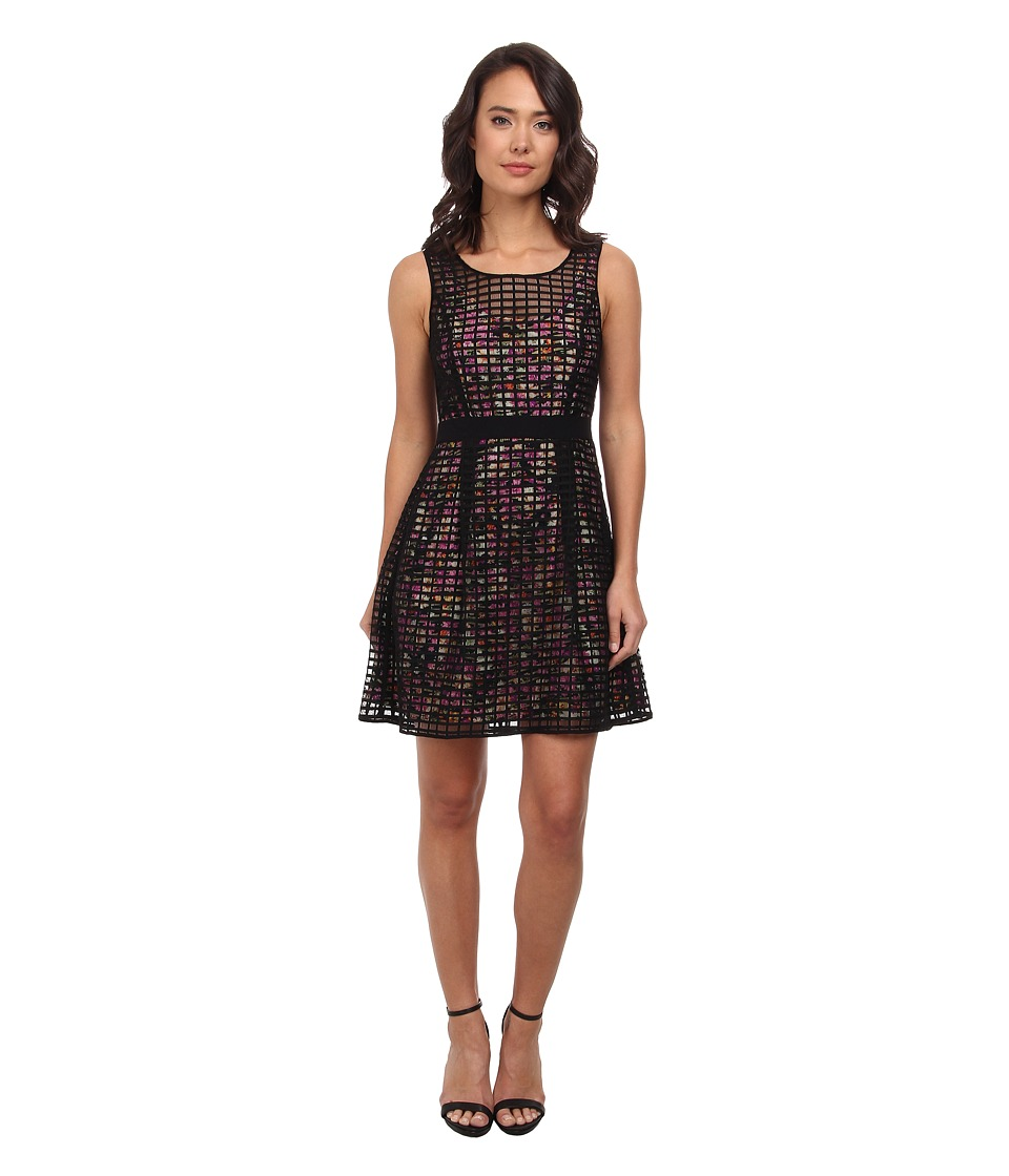 Jessica Simpson - Checkered Overlay Dress (Black/Floral) Women's Dress