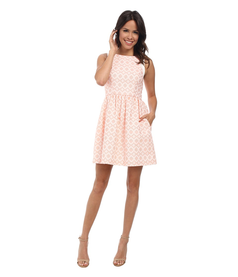 Jessica Simpson Coral Overlay Dress (Coral) Women