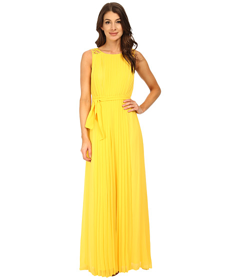 Jessica Simpson - Lattice Shoulder Maxi Dress (Yellow) Women's Dress